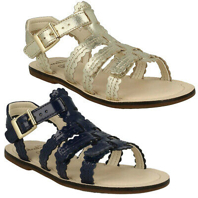 Clarks Girls Loni Moon Gold Leather Sandals Brand New