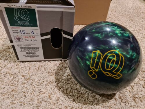 """Details about  /Storm IQ Tour Emerald 1st Quality Bowling Ball15 Pounds4.5-5/"""" Pin"""