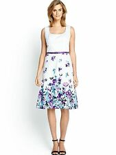 BNWT ladies Stunning SAVOIR dress sleeveless floral with belt size uk 14 RRP £80