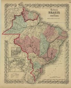 "1859 Colton's  ""Brazil & Guayana""-original, ex-atlas"