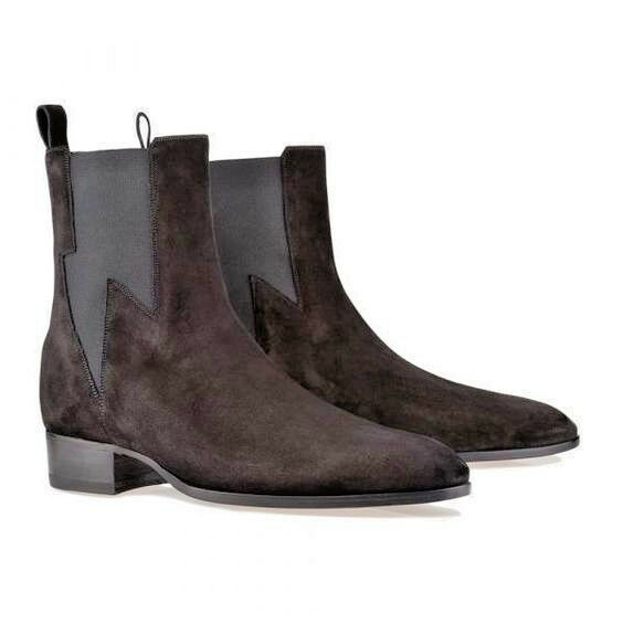 New Men's Latest Chelsea Unique Style Elastic Panel Suede Boots, Bottes en cuir