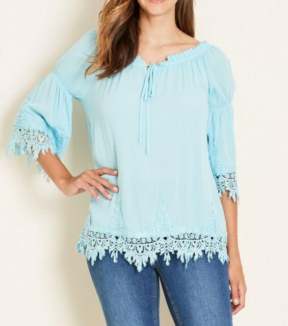 Crossroads Aqua Blue Lace Hem Blouse With Scoop Drawstring Neckline Size 18