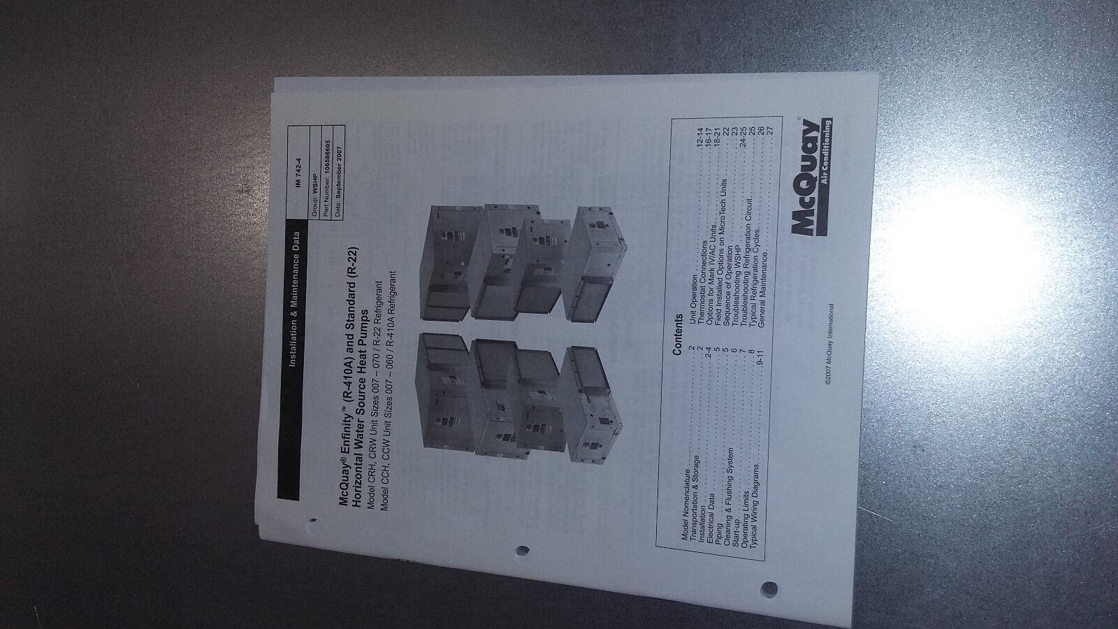 Mcquay Wcrh1024mfyr Sn Aubu082501443 Ceiling Mounted Horiz Heat Pump Wiring Diagram 24 000btu Ebay