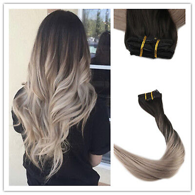 Full Shine Clip In Human Hair Extensions Ombre Balayage Remy Hair Ash Blonde Ebay