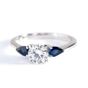 1-10Cts-SI2-G-Redondo-Pera-Zafiro-Azul-Diamante-3-Anillo-Compromiso-Piedra