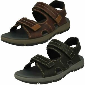 6c468e131e3 Image is loading Mens-Clarks-Brixby-Shore-Leather-Casual-Strapped-Sandals