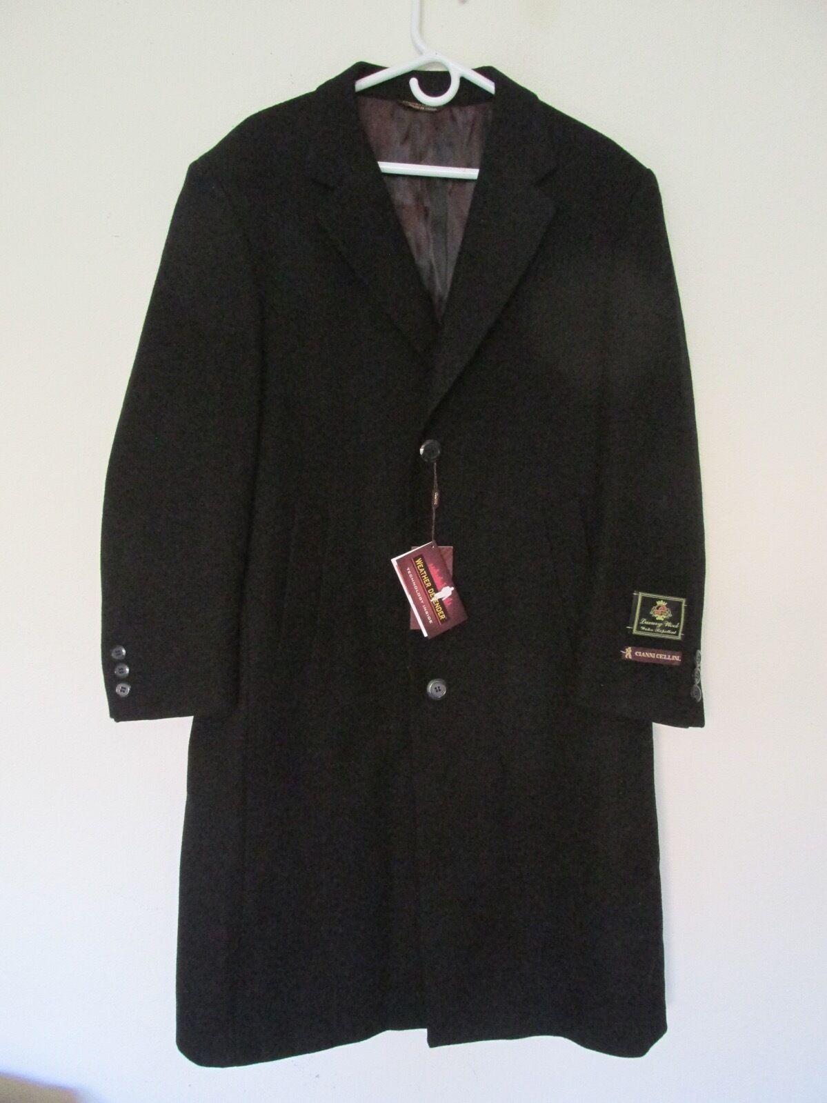 Neu Herren Cianni Cellini 'Harvard' Schwarze Wolle Stoffmischung, Lang- Mantel -