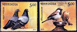 India-2010-MNH-2v-Birds-Pigeon-Sparrow