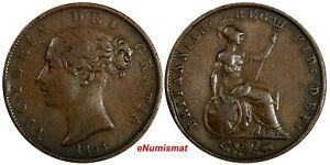 Great-Britain-Victoria-1837-1901-Copper-1853-2-Half-Penny-OVERDATE-KM-726
