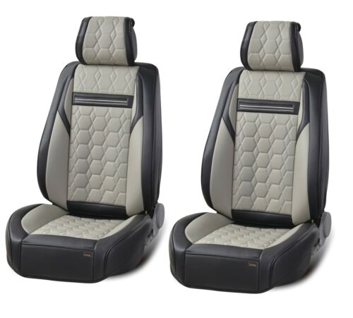 Universal High-Quality Deluxe Grey PU Leather Front Car Seat Covers Cushion