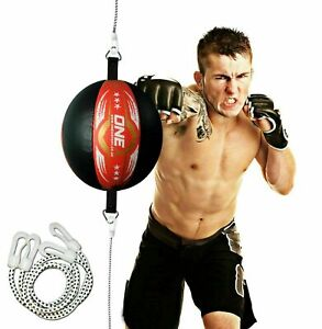 Floor-to-Ceiling-Speed-Ball-Leather-Double-End-Ball-Boxing-Punch-Bag-Red-Black