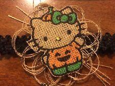 Handmade Hello Kitty Burlap Pumpkin Halloween  Elastic Lace Headband Costume