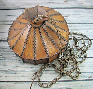 Leather-Lamp-Shade-Mid-Century-Hand-Tooled-Etched-Brown-Home-Lighting-Decor