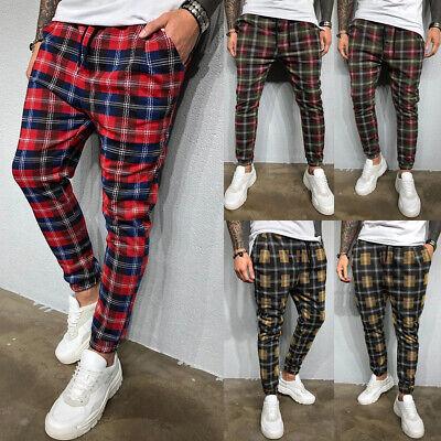 Women High Waist Casual Trousers Check Plaid Tartan Slim Skinny Sport Long Pants