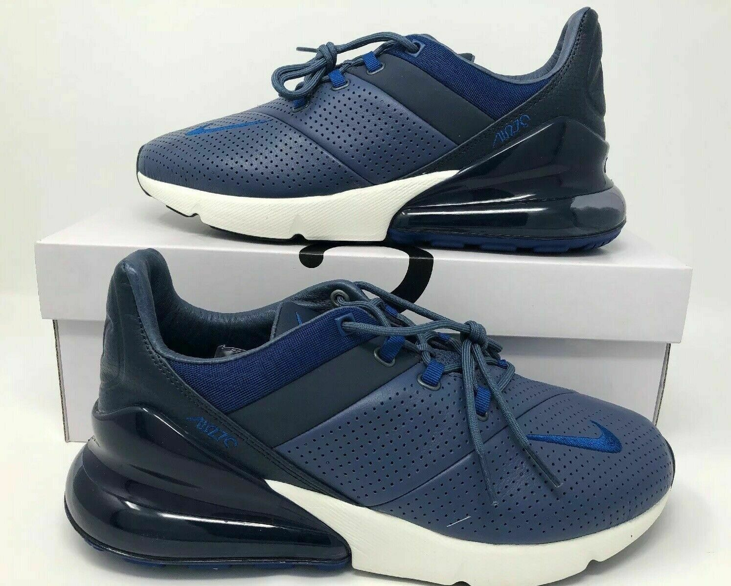 New Nike Air Max 270 Premium Size 12 Leather Diffused blueee Gym blueee AO8283 400