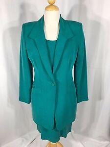 Dana Buchman Womens 2 Piece Green Silk Dress Suit Career Dress