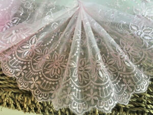 "Beautiful 6.5/""//16cm Antique Rose Pink Flat Galloon Lace Trim Sewing//Bridal."