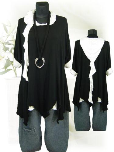 Es poco Design Lagenlook overlong camisa jersey túnica negro 42-58//L XL XXL XXXL