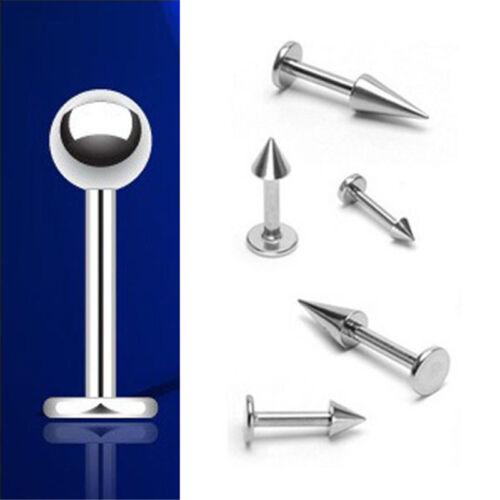 5X Surgical Steel Ball Cone Labret Monroe Lip Bar Ring Barbell Stud Ear Piercing