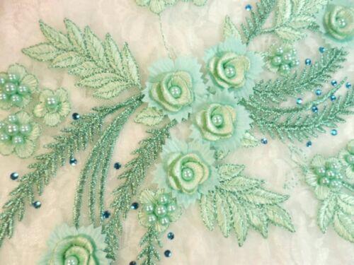 "Embroidered 3D Dance Appliques Seafoam Floral Mirror Pair 13/"" DH76"