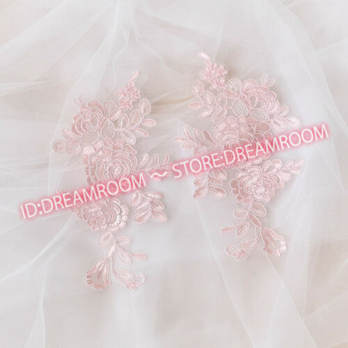 BF200 25*13cm 2PC Embroidered Peony Lace Trim wedding Appliques Dress Decor