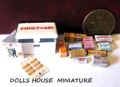 Estilo Vintage Lata de Casa de muñecas en miniatura de primeros auxilios