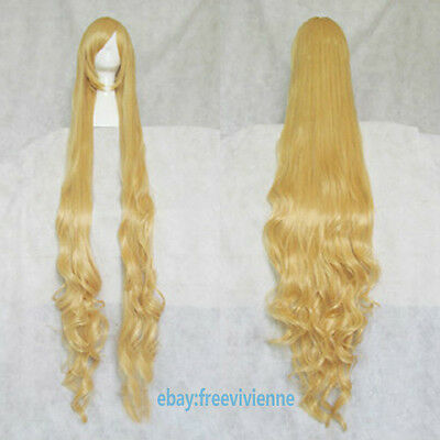 GOSICK Victorique De Blois Wavy 150cm Blonde Cosplay Party full wig+ wig cap