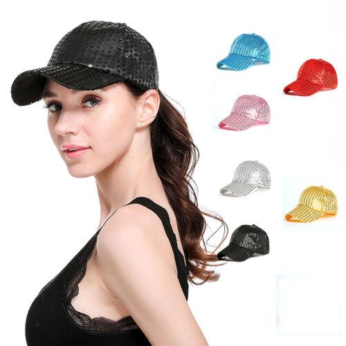 Réglable Femmes Hommes Danse Fête Brillant Sequin Panel Casquette De Baseball ball chapeaux