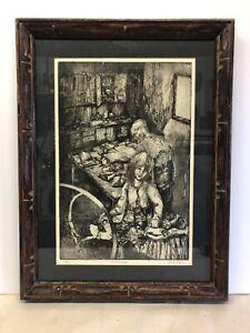 Jane-Brigham-Gage-1914-1978-Original-Etching-Signed-4-5-Le-Habitude-Framed