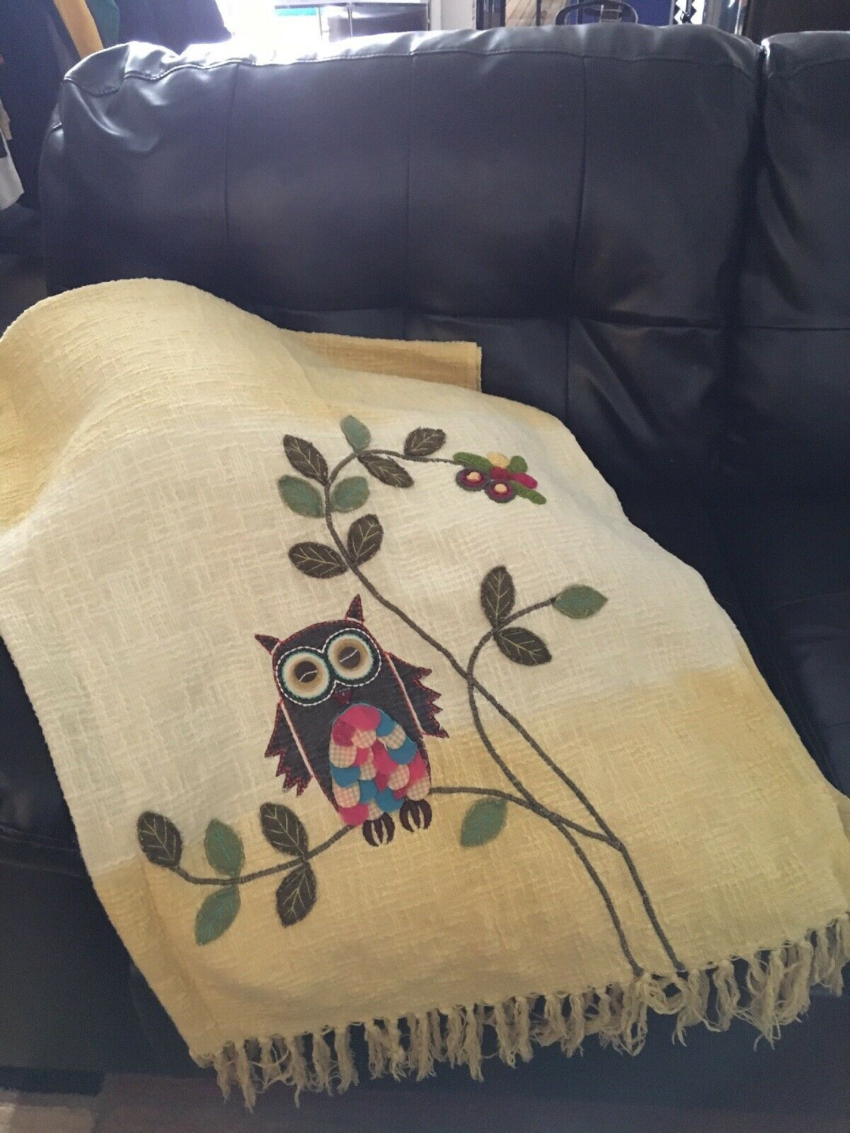 Cynthia Rowley Owl Ombre Yellow Throw Blanket 54 x 60 Applique