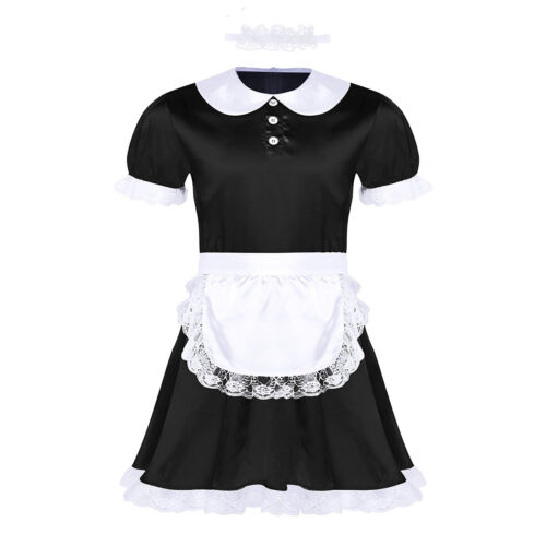 Sissy Mens Satin Lace French Maid Uniform Fancy Dress Cosplay Costume Outfit Set