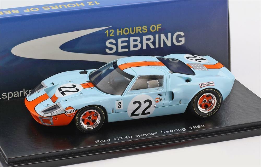 Spark 1//43 Ford GT 40 N.22 Winner Sebring 1969 Ickx Oliver 43SE69