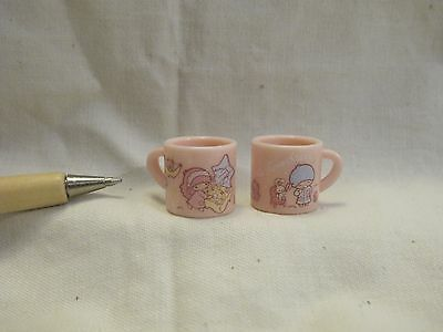 U067 Dollhouse 2pc Vintage Pink Minnie Duck cups Kitchen Miniature re-ment 1:12