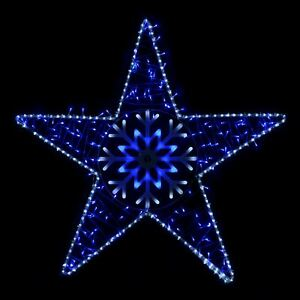 Details About Blue White Led Flashing Star Outdoor Christmas Rope Light Decoration 105x102cm