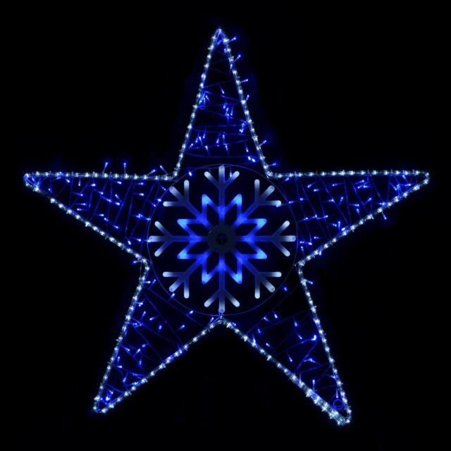 Blue/White LED Flashing Star Outdoor Christmas Rope Light Decoration  105x102cm - Blue/white LED Flashing Star Outdoor Christmas Rope Light Decoration