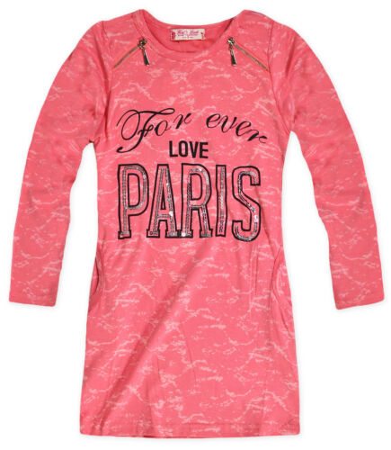 Girls Long Sleeved Love Dress New Girls Tunic Grey Coral Dresses 3 4 5 6 Years