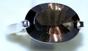 Smoky-Quartz-Solitaire-Gemstone-solid-925-Sterling-SILVER-Rings-Unique-Ring