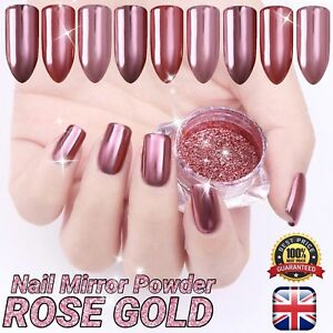 Detalles De Pigmento Polvo Rosa Dorado Cromo Espejado Para Arte En Uñas Champán Efecto Brillante Gr Ver Título Original
