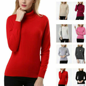 Women-039-s-Slim-Knitted-Jumper-Pullover-Elasticity-cozy-Sweater-Turtleneck