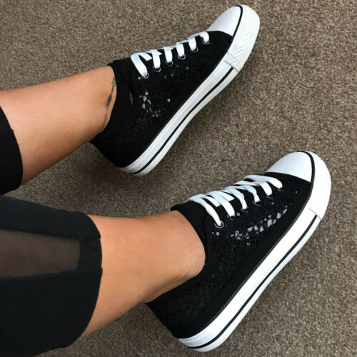 Womens Daps Trainers Lace sequin Canvas Sneakers Ladies Shoes