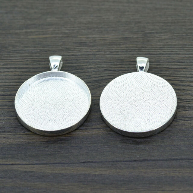 Lots 10X Silver Plated Necklace Pendant Setting Cabochon Base Tray For 25mm/30mm