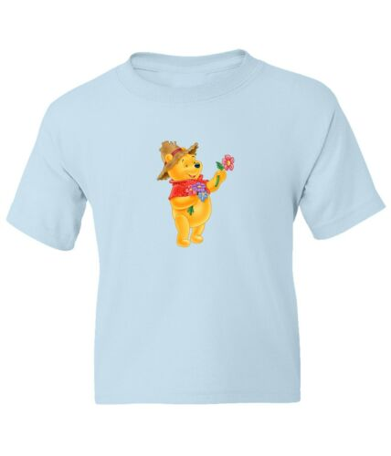 Winnie The Pooh Garden Kid Girl Boy Youth Unisex Crew Neck Short Sleeve T-Shirt