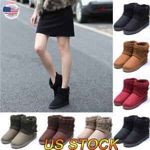 Women-Ladies-Ankle-Boots-Fashion-Winter-Warm-Suede-Rubber-Block-Heel-Snow-Boot