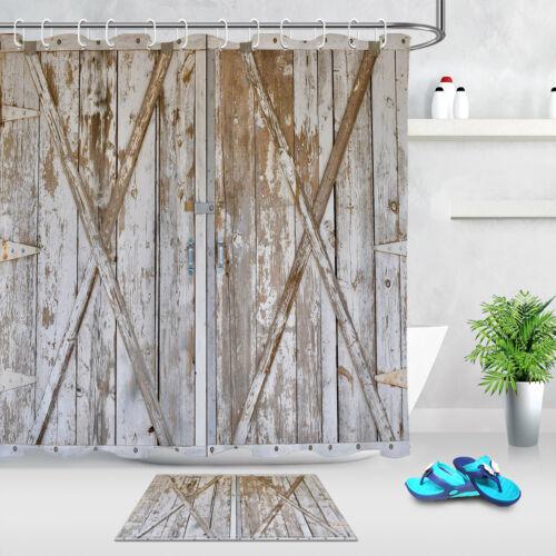 """Tissu De Polyester Rideau de douche Liner vintage en bois porte de grange Set salle de bain 72/"""""""