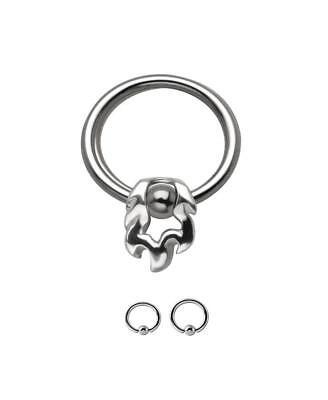 Triple Skull Nose Hoop Captive Bead Ring 20g-18g-16g Steel Earring Body Jewelry