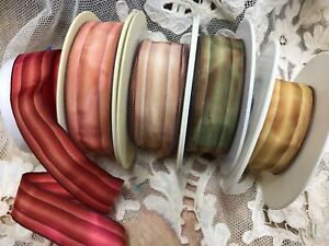 Vintage-1-034-French-wire-Stripe-Acetate-Rayon-Ombre-Ribbon-1yd-Made-in-France