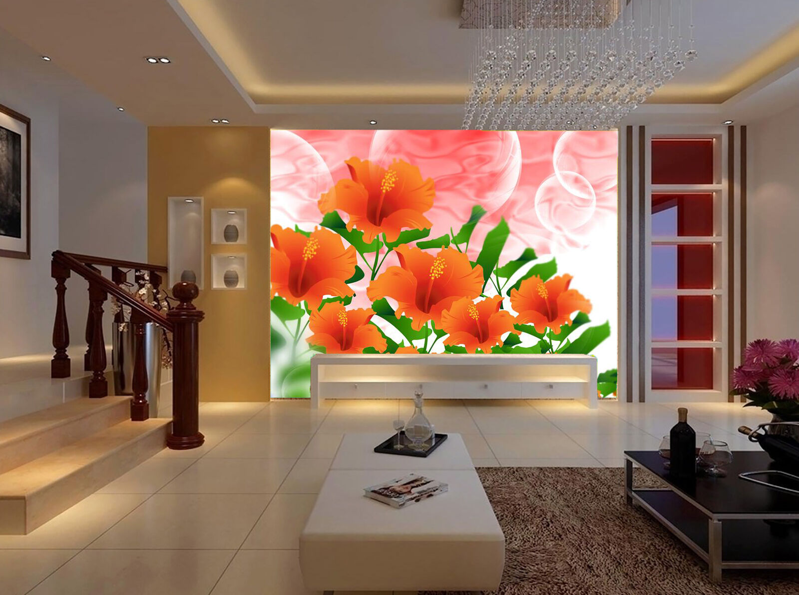 3D Flowers bloom ROT large Wall Paper Print Decal Wall Deco Indoor wall Mural
