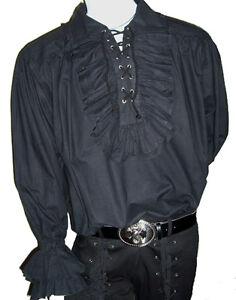 NEW-Adam-Ant-Goth-Costume-Mens-Black-Ruffle-Cotton-Shirt-XXXL