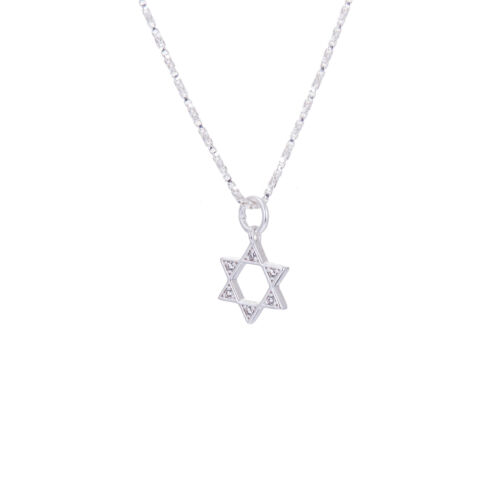 Sterling Silver /& CZ Crystal Star of David Necklace 14-32 Inches