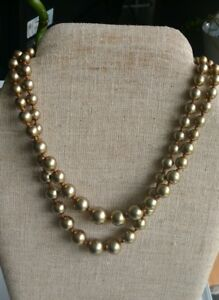 Vintage-goldtone-faux-pearls-double-strand-necklace